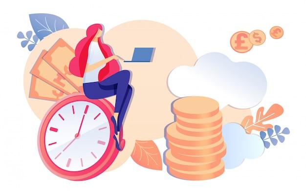 Chica de dibujos animados sentarse en reloj reloj cuaderno de trabajo