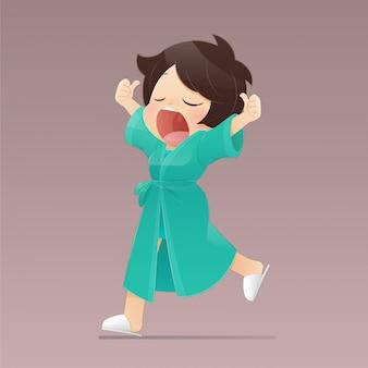Chica de dibujos animados en una túnica verde caminando y bostezando, mujeres que sienten sueño, ilustración de personaje plano.