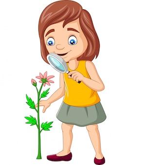 Chica de dibujos animados usando una lupa y mirando flores