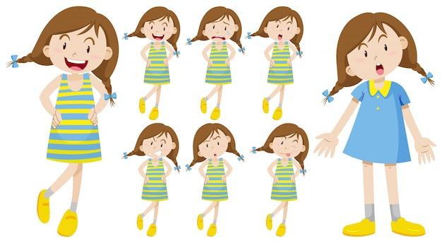 Chica con diferentes emociones ilustración
