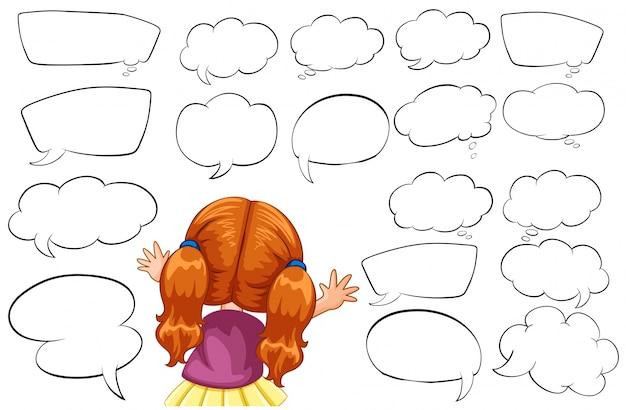 Chica y diferentes formas de burbujas de discurso ilustración
