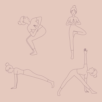 Chica en diferentes posturas de yoga en estilo de línea.