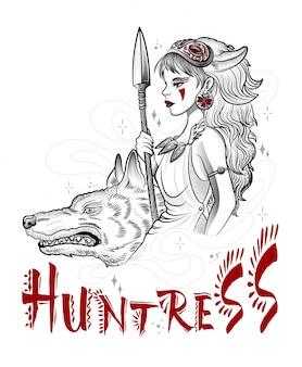 Chica de diosa de caza con pistolas y lobo
