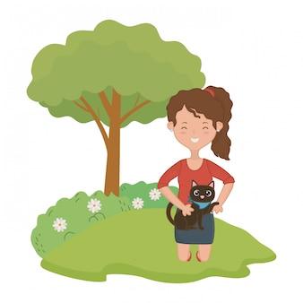 Chica con diseño de dibujos animados de gato