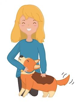 Chica con diseño de dibujos animados de perro