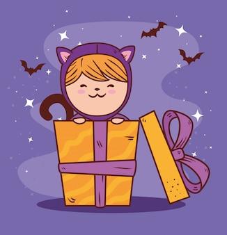 Chica disfrazada de lindo gato en caja de regalo, diseño de ilustración de vector de feliz celebración de halloween