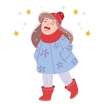 Chica divertida atrapa nieve con su lengua. jugando al aire libre. personaje de dibujos animados divertido.