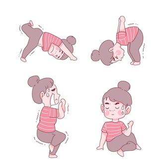 Chica divertida en conjunto de posturas de yoga