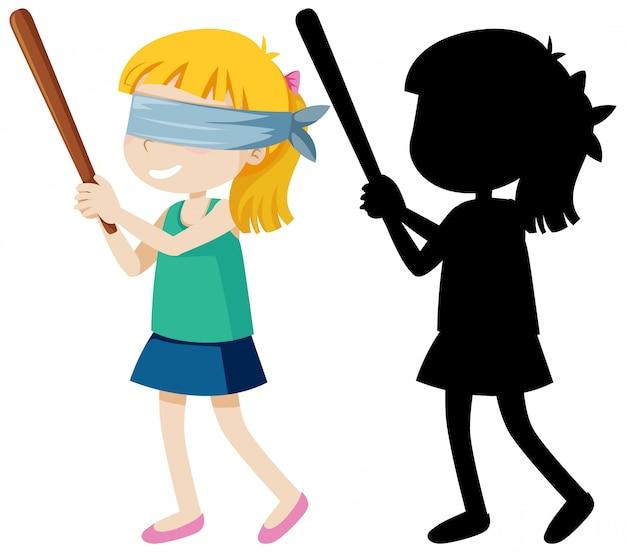 Chica doblada ciega con palo