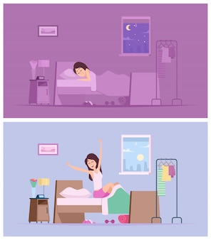 Chica durmiente. despierta mujer alegre mañana estirando en la cama ilustraciones de dibujos animados