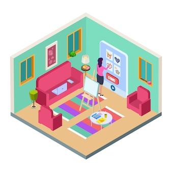 Chica elige lección de dibujo. estudio de arte en el hogar, sala de estar de vectores isométricos, sofá, caballete y lecciones de dibujo en línea