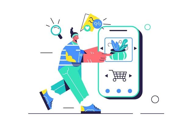 Chica elige producto en tienda móvil, gran teléfono móvil