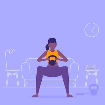 Chica entrenando en casa, haciendo sentadillas, entrenamiento en la sala de estar