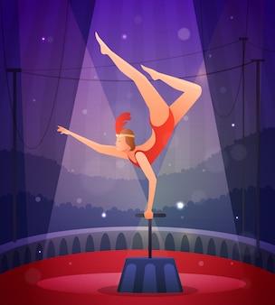 Chica esbelta realizando ejercicio acrobático