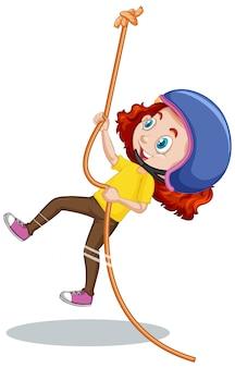 Chica escalada cuerda en blanco