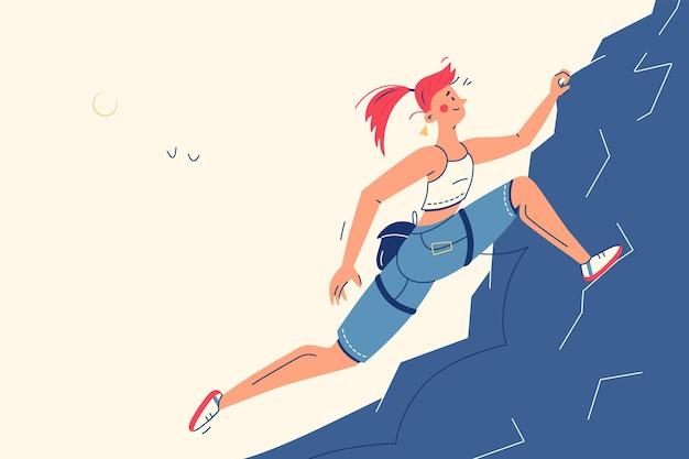 Chica escalada en la ilustración de vector de alta montaña. mujer deportiva con estilo plano de cuerda de apoyo. concepto de actividad, entrenamiento, competición y deporte.