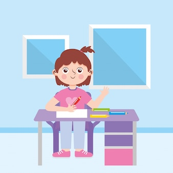 Chica en el escritorio con lápices de colores en la habitación. de vuelta a la escuela. ilustración