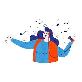 Chica escuchando música de la ilustración del servidor de la nube.