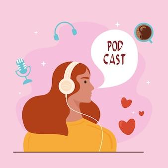 Chica escuchando podcast