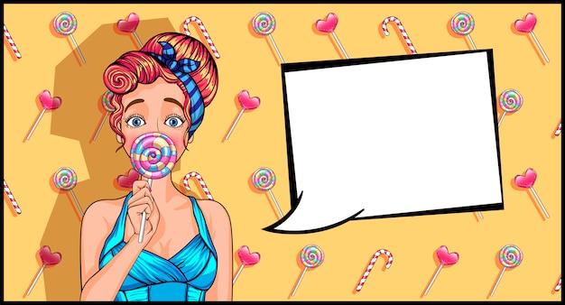 Chica en estilo pop art con una piruleta.