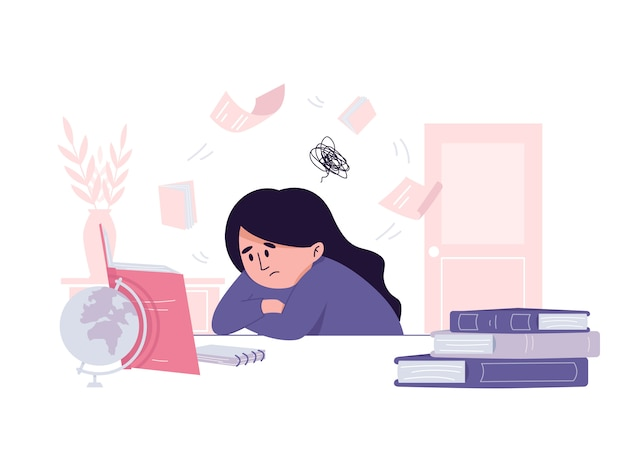 Chica estudiante cansada tratando sin éxito de prepararse para una ilustración de examen