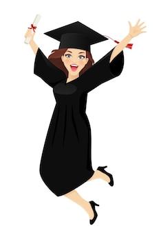 Chica estudiante emocionada con sombrero de graduación en la cabeza y diploma en mano saltando de alegría aislado