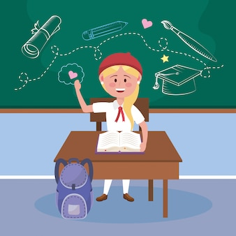 Chica estudiante con escritorio y libro con mochila.