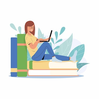 Chica estudiante estudiando con ordenador portátil. mujer joven sentada sobre una pila de libros, obteniendo conocimientos en línea. ilustración para e-learning, curso de internet, concepto de escuela