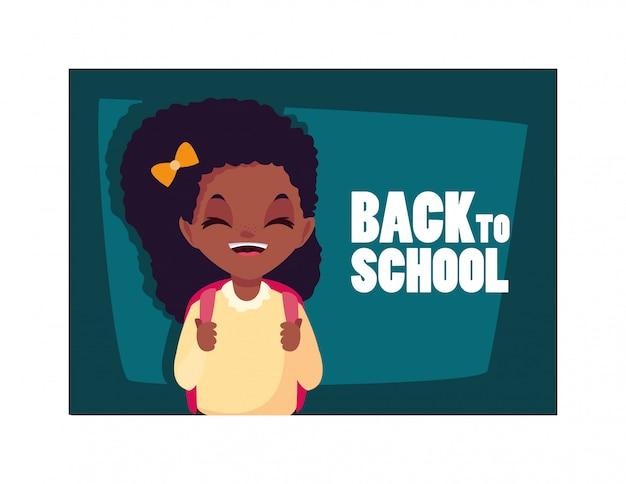 Chica estudiante con etiqueta de regreso a la escuela, regreso a la escuela