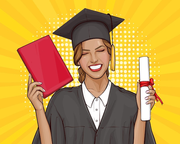 Chica estudiante graduada con diploma universitario en estilo pop art