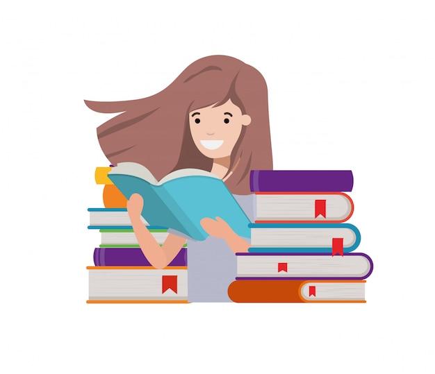 Chica estudiante con libro de lectura en las manos