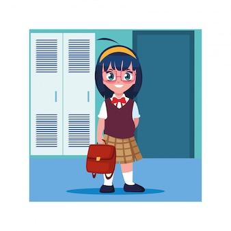 Chica estudiante en el pasillo de la escuela con taquillas, regreso a la escuela