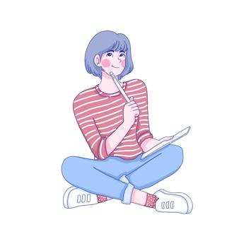 La chica estudiante está pensando en la ilustración del personaje.