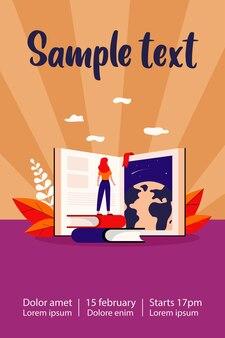 Chica estudiante de pie en el libro abierto estudiando literatura mundial