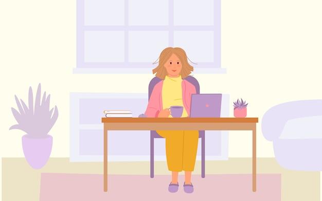 Chica estudiante con portátil en la mesa. quedarse trabajo concepto de hogar. detener el brote y la propagación del virus.
