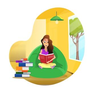 Chica estudiante y preparación de tareas o exámenes en casa