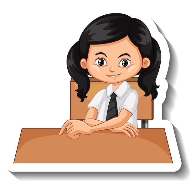 Chica estudiante sentada en el escritorio pegatina de dibujos animados