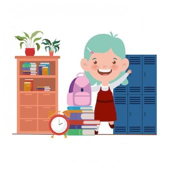Chica estudiante con útiles escolares en el aula