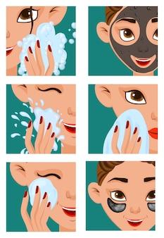Chica con etapas de cuidado de la piel.