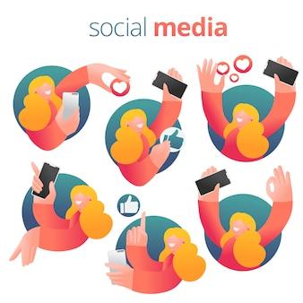 Chica de expresión de redes sociales con smartphone. conjunto de iconos