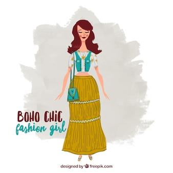 Chica con una falda largo y ropa estilo bohemio