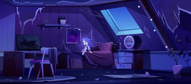 Chica fantasma en dormitorio antiguo en el ático por la noche