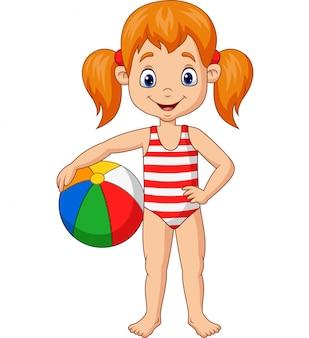 Chica feliz de dibujos animados sosteniendo una pelota de playa