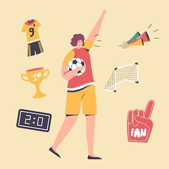Chica feliz fanático del fútbol en uniforme animando por la victoria y el éxito del equipo