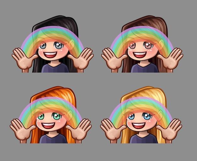 Chica feliz de los iconos de emoción con arco iris para redes sociales y pegatinas