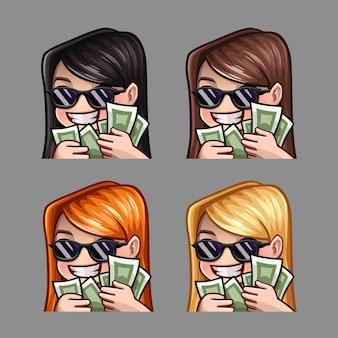 Chica feliz de los iconos de emoción con gafas de sol y dinero para redes sociales y pegatinas