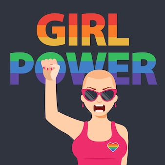 Chica feminista levanta el puño. protección de los derechos de las mujeres. ilustración de personaje plano