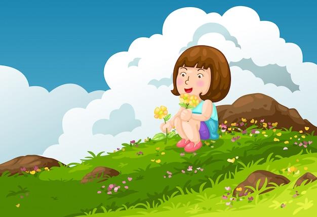 Chica con flores montañas paisaje fondo vector