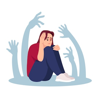 Chica con fobia social semi ilustración plana