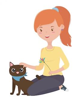 Chica con gato de dibujos animados